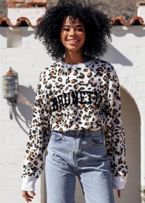 """Brunette The Label """"Brunette"""" Step Sister Crew White Leopard"""