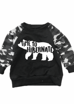 Portage & Main Time To Hibernate Black Camo Raglan