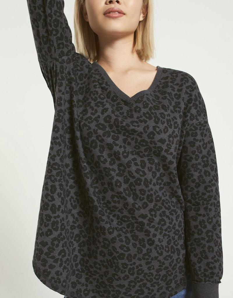 Z Supply V-Neck Leopard Weekender Black