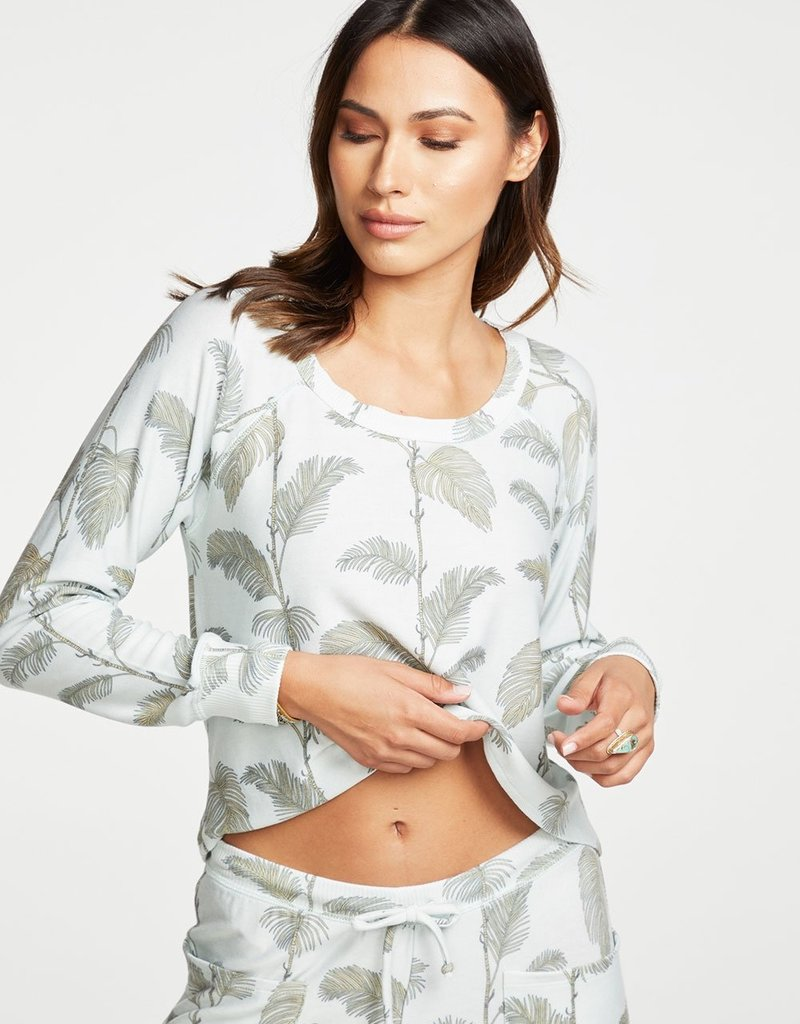 Chaser Cozy Knit LS Cropped Hi Lo Raglan Pullover in Minty Palms