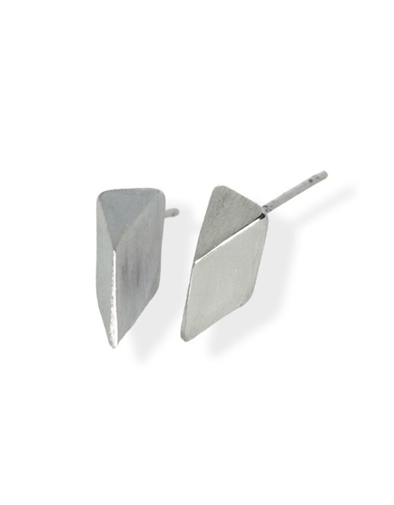 FAB Accessories Faceted Stud Earring/ Brushed Stainless Steel/ Hypoallergenic/ Seine