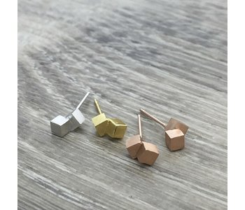 Brushed Double Cube Earring/ Stainless Steel/ Hypoallergenic/ Seine