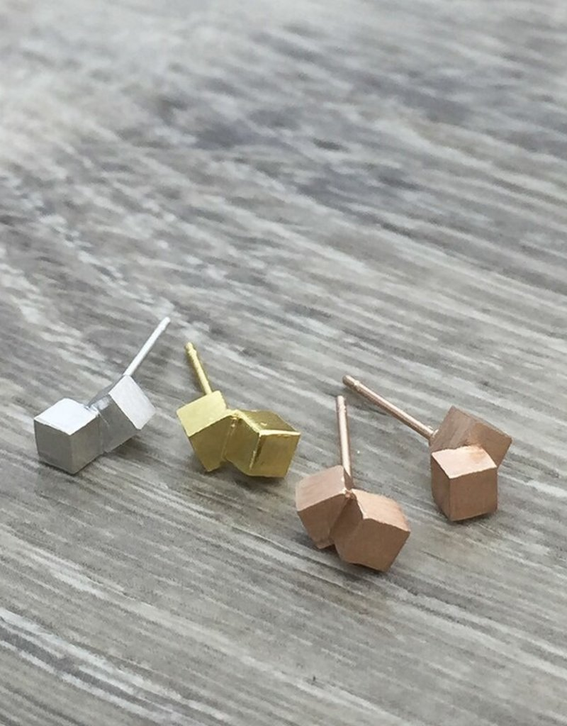 FAB Accessories Brushed Double Cube Earring/ Stainless Steel/ Hypoallergenic/ Seine