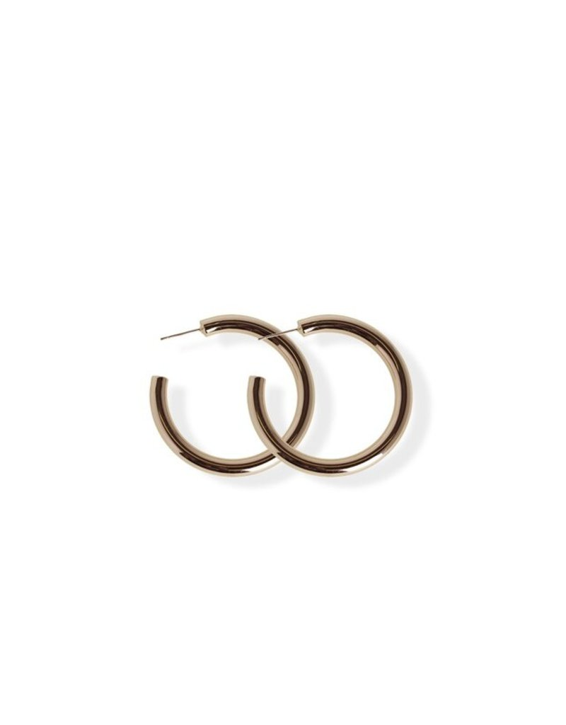 FAB Accessories Small Bold Hoop Earring/ Plating on Brass/ Hypoallergenic