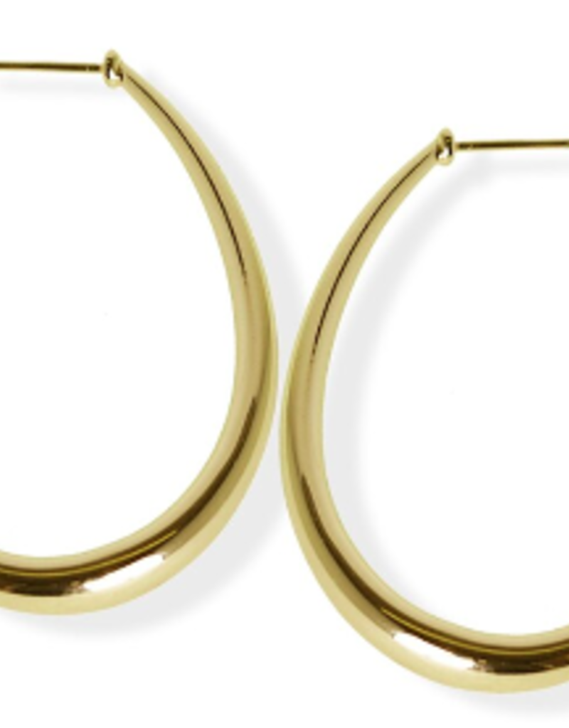 FAB Accessories Luxe Crescent Hoop Earring/ Plating on Brass/ Hypoallergenic