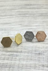 FAB Accessories Octagon Earring/ Brushed Stainless Steel/ Hypoallergenic/ Seine