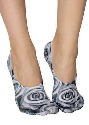 Living Royal Black and White Roses Liner Socks