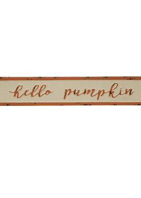"CREATIVE CO-OP Embossed Enameled Metal Wall Decor ""Hello Pumpkin"""