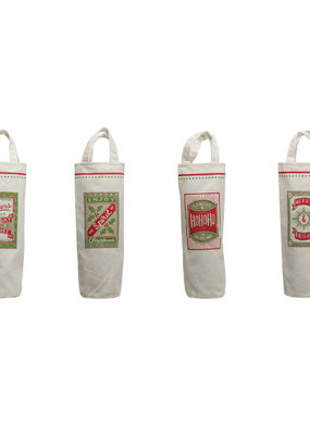 CREATIVE CO-OP Fabric Wine Bag With Handles Christmas