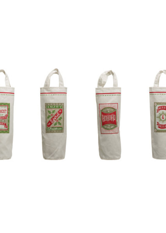 CREATIVE CO-OP Fabric Wine Bag With Handles Christmas