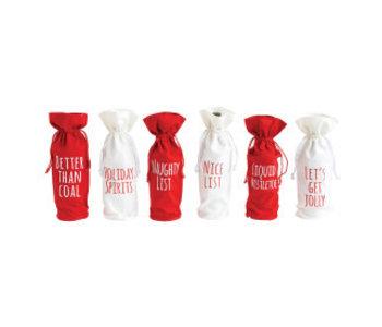 Fabric Drawstring Wine Bag Christmas