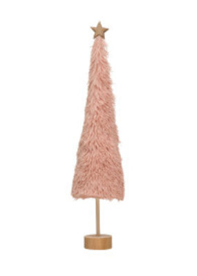 CREATIVE CO-OP Fabric Shag Tree On Wood Base Pink 22.75""