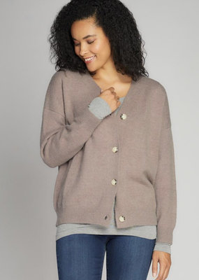 Cest Moi Knit Button front Cardigan Taupe