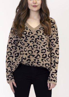 Lyla & Luxe Vneck Leopard Sweater Brown