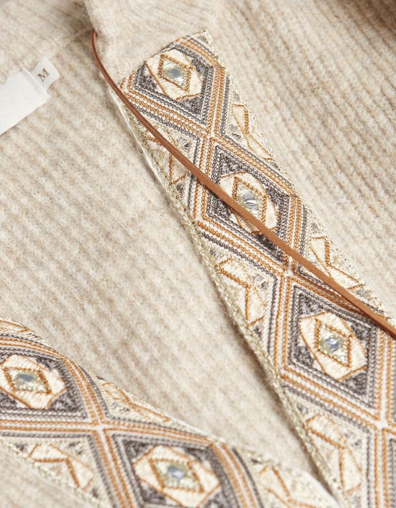 Cream LaraCR Knitted Pullover Oat Melange