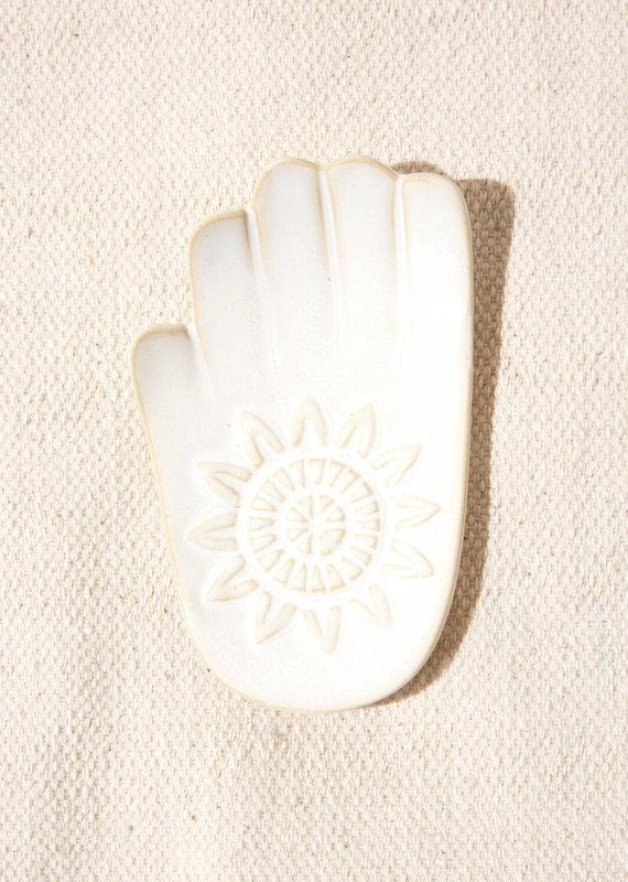 Indaba Trading Co. Hamsa Hand Dish White L