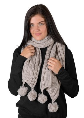 Coffee Shoppe Cable Knit Pom Pom Scarf