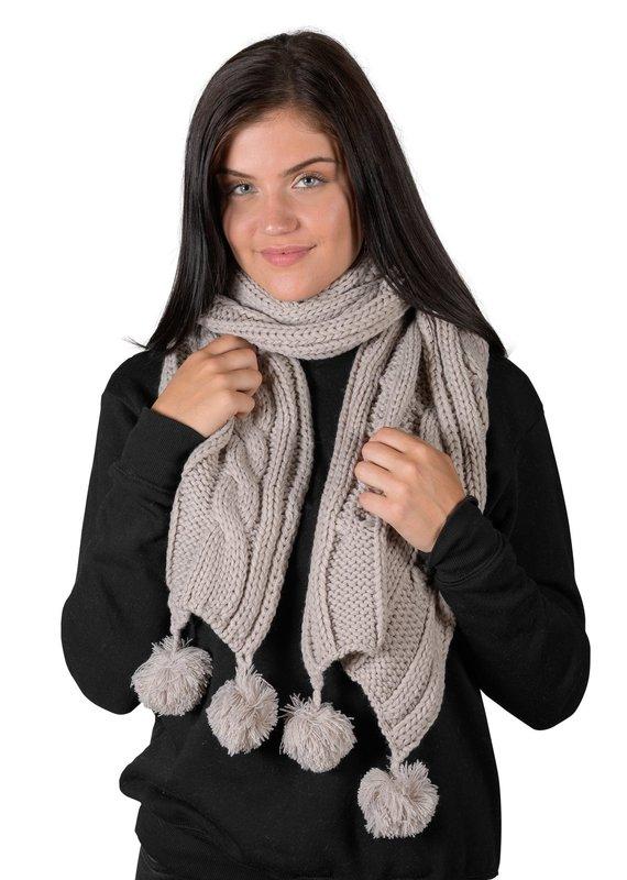 Coffee Shoppe Cable Knit Pom Pom Scarf