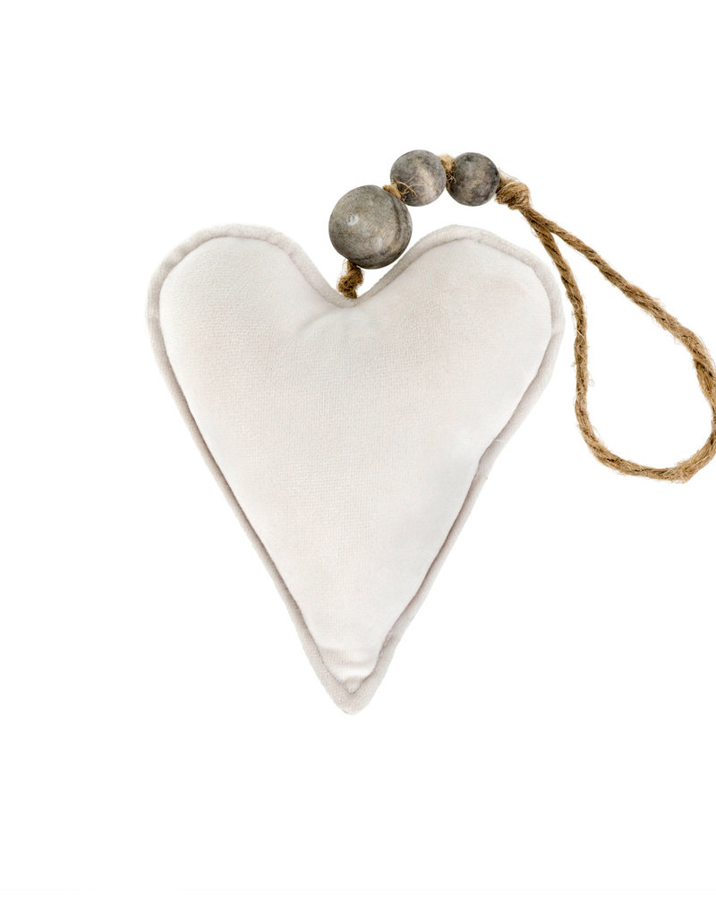 Indaba Trading Co. Velvet Heart Ornament SM Cream