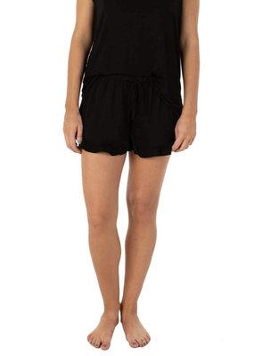Ju Ju Jams Macy Drawstring Ruffle Shorts Black