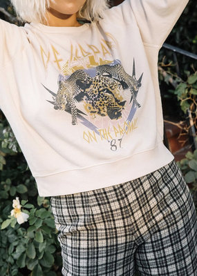 Day Dreamer Def Leopard On The Prowl Varsity Crew Sweatshirt Sand
