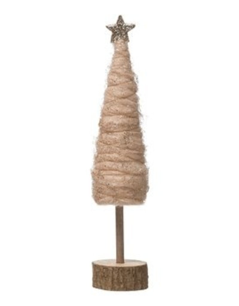 CREATIVE CO-OP Wool Tree with Glitter & Gold Star - Blush 12.75""