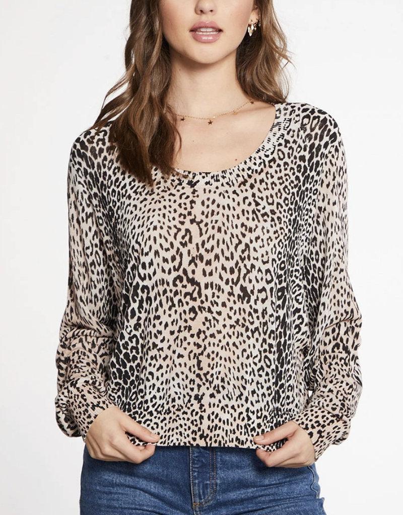 Chaser Viscose Blend Micro Animal Print Oversized Long Sleeve Raglan Pullover Sweater