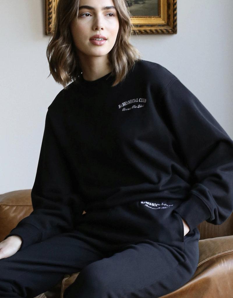 "Brunette The Label The ""BABES SOCIAL CLUB"" Best Friend Crew Neck Sweatshirt"
