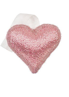 Indaba Trading Co. Pink Beaded Heart, M