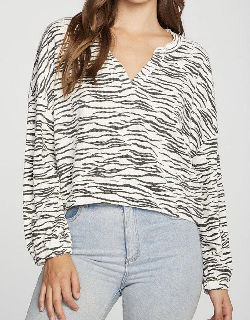 Chaser Zebra Print V-Neck