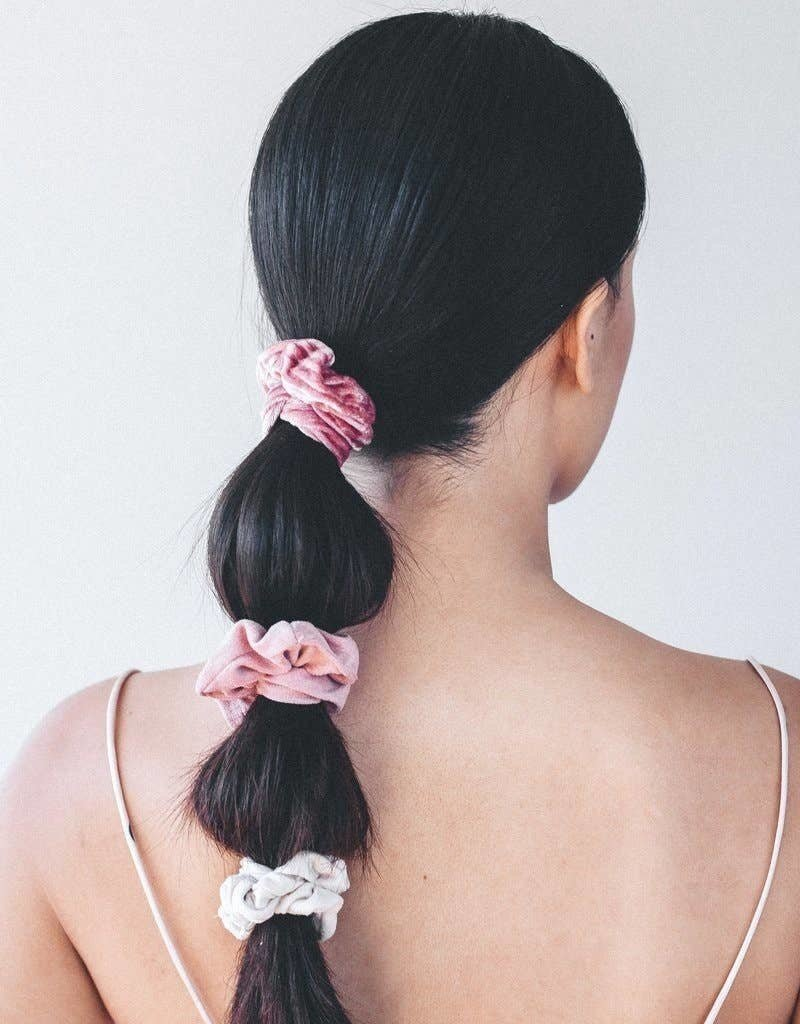 KITSCH Velvet Scrunchies - Blush and Mauve