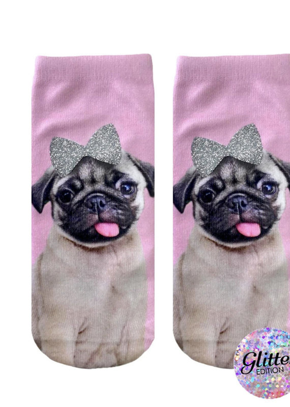 Living Royal Pug w/Bow Glitter Ankle
