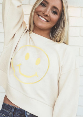 FRIDAY + SATURDAY Smiley Face Cropped Corded Sweatshirt