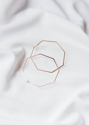 lavender & grace Hexagon Hoops, Large Gold