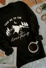 Alley & Rae Apparel Take Me Mountains Sweatshirt, Blk