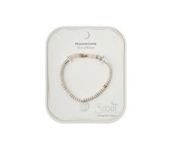 Charm Bracelet, Moonstone/Sil/Gold