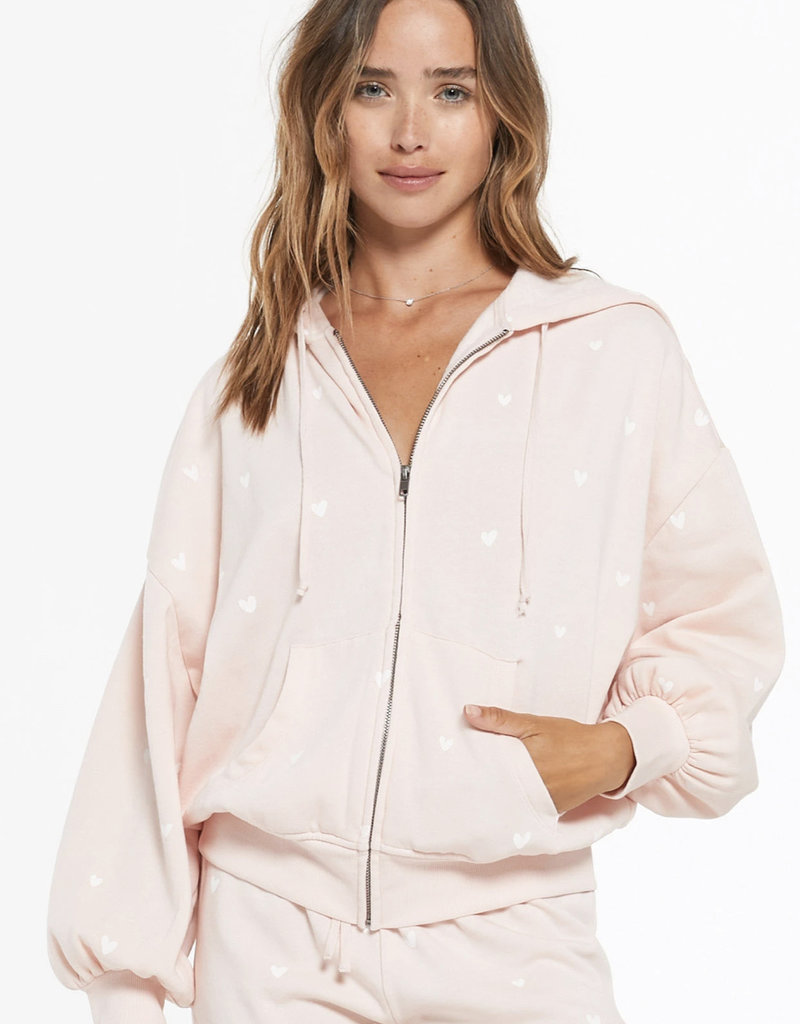 Zsupply Hearts Full Fleece Hoodie, Rose Quartz
