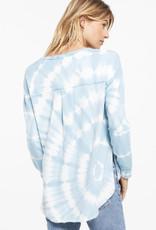 Zsupply V-Neck Spiral Tie Dye Weekender, Blue Agave