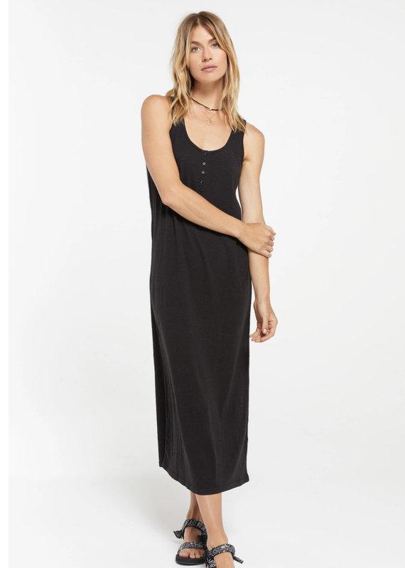 Zsupply Miley Slub Midi Dress, Black