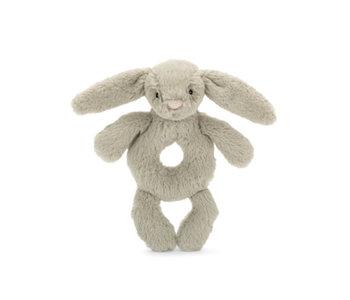 "Bashful Beige Bunny Ring Rattle 7"""