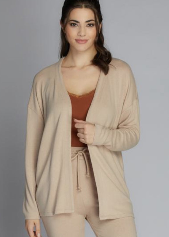 Cest Moi Soft Knit Open Cardigan, Tan