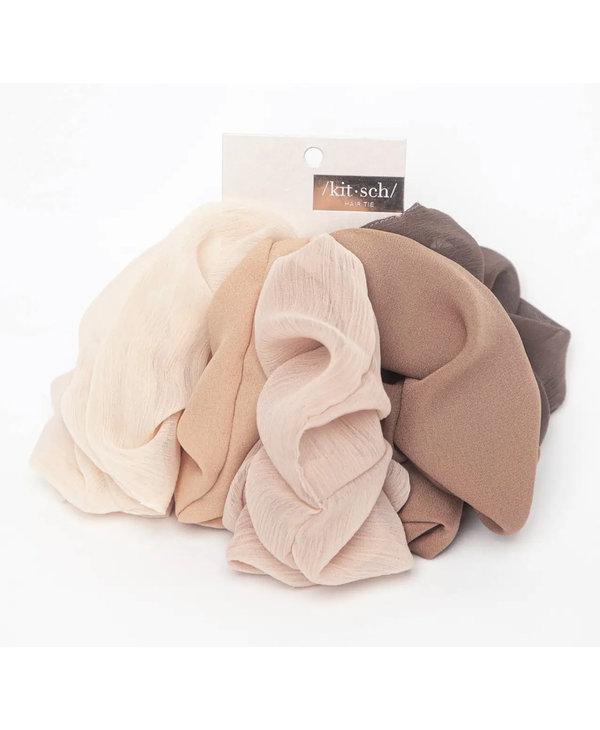 Crepe Scrunchies 5 Pack- Terra Cotta