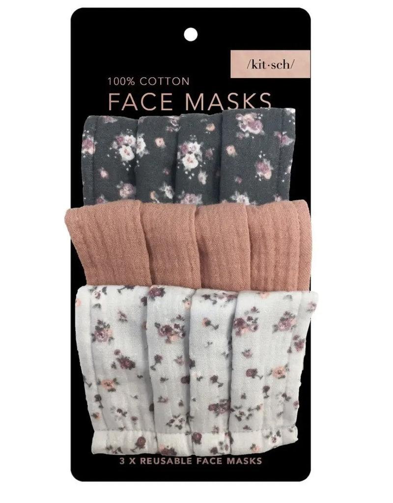 KITSCH Cotton Mask 3 pc Set - Vintage Floral