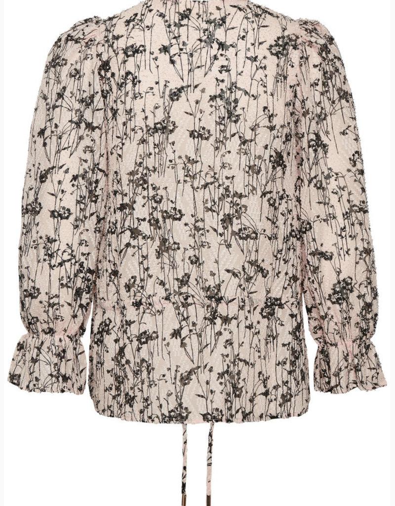 InWear Josetta Blouse With Long Sleave, Cream Tan Pressed Flowers