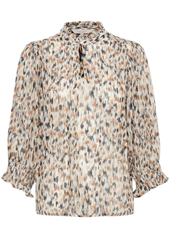 Part Two Hoas Blouse With Long Sleeve, Paint Print Neutral