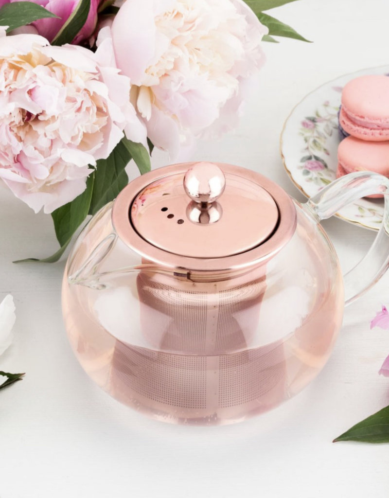 Pinky Up Candace Rose Gold Glass Teapot & Infuser