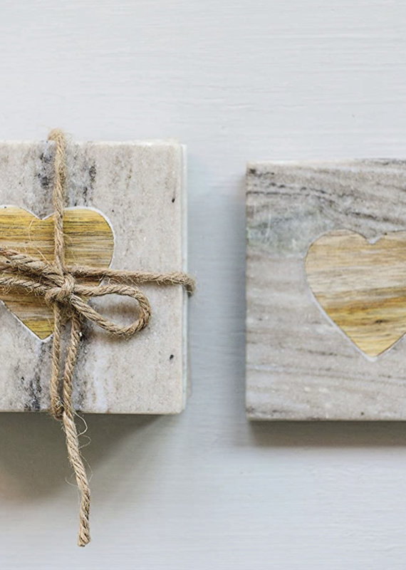 CREATIVE CO-OP Square Marble Coasters With Acacia Wood Heart Inset, 4""