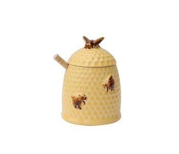 "Stoneware Bee Skep Honey Jar With Wood Honey Dipper, 4-1/2"" Round 6"" H"