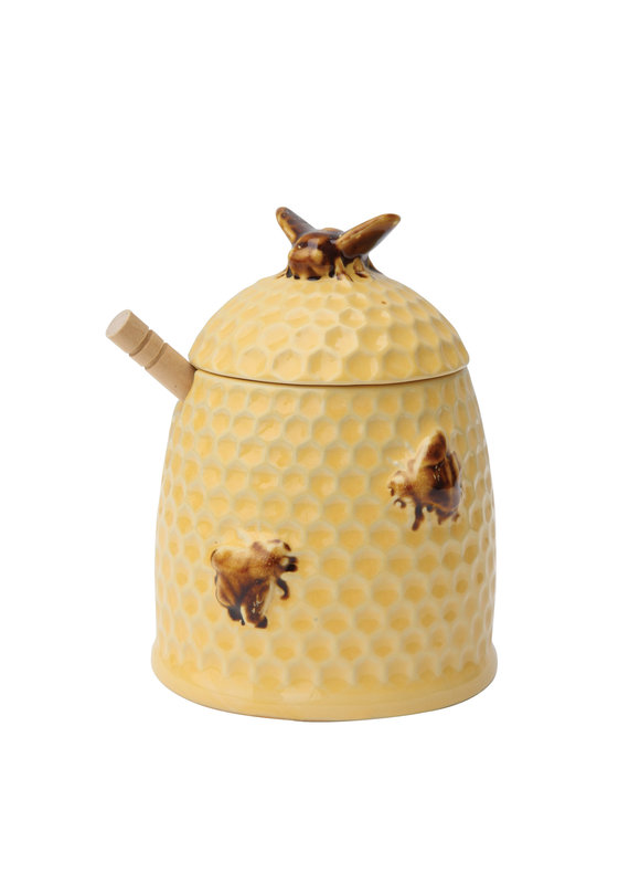 "CREATIVE CO-OP Stoneware Bee Skep Honey Jar With Wood Honey Dipper, 4-1/2"" Round 6"" H"