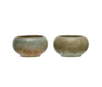 Round Stoneware Bowl, Opal Reactive Glaze